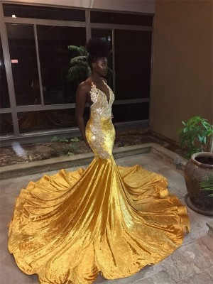 Gold Velvet V-neck Trumpet/Mermaid Court Train Dresses