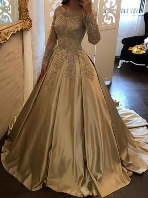 Champagne Satin Off-the-Shoulder Ball Gown Sweep/Brush Train Dresses