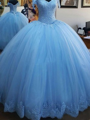 Blue Tulle Off-the-Shoulder Ball Gown Sweep/Brush Train Dresses
