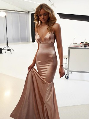 Champagne Satin Straps Trumpet/Mermaid Sweep/Brush Train Dresses