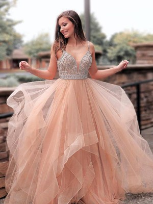 Brown Tulle Straps A-Line/Princess Sweep/Brush Train Dresses