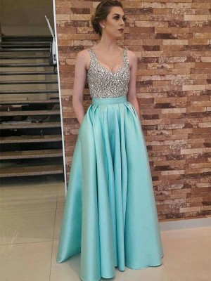 Green Satin V-neck A-Line/Princess Floor-Length Dresses