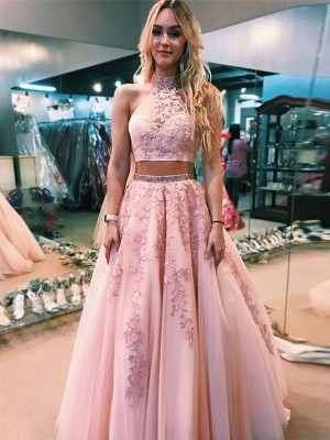 Pink Tulle Halter A-Line/Princess Floor-Length Dresses