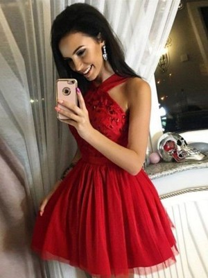 Red Tulle Halter A-Line/Princess Short/Mini Dresses