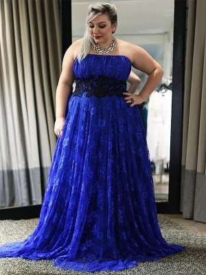 Royal Blue Lace Strapless A-Line/Princess Floor-Length Plus Size Dresses