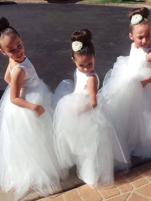 White Tulle Jewel Ball Gown Floor-Length Flower Girl Dresses
