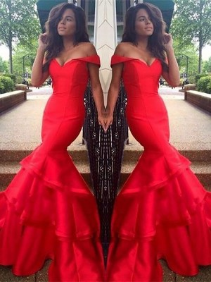Red Satin Off-the-Shoulder Trumpet/Mermaid Sweep/Brush Train Dresses