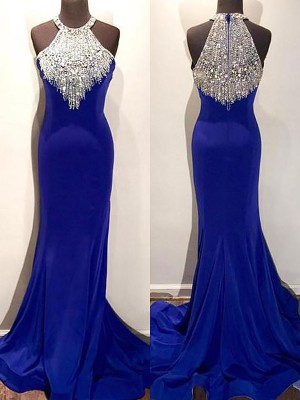 Royal Blue Satin Halter Trumpet/Mermaid Sweep/Brush Train Dresses