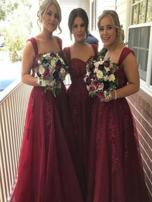 Burgundy Tulle Straps A-Line/Princess Floor-Length Bridesmaid Dresses