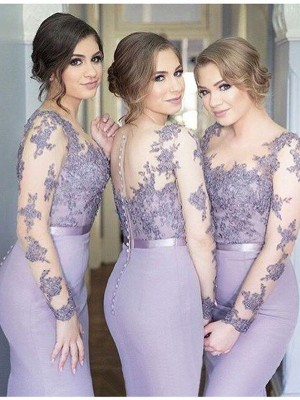 Sage Jersey Scoop Trumpet/Mermaid Floor-Length Bridesmaid Dresses