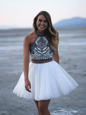 White Tulle Halter A-line/Princess Short/Mini Homecoming Dresses