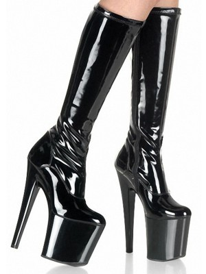 Women's Stiletto Heel Patent Leather Closed Toe Boots
