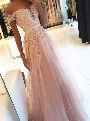 Pearl Pink Tulle Off-the-Shoulder A-Line/Princess Floor-Length Dresses
