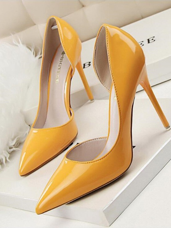 Women Stiletto Heel PU Closed Toe High Heels