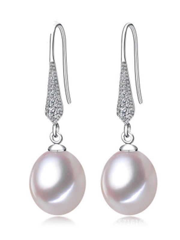 Simple S925 Silver With Pearl Ladies Earrings