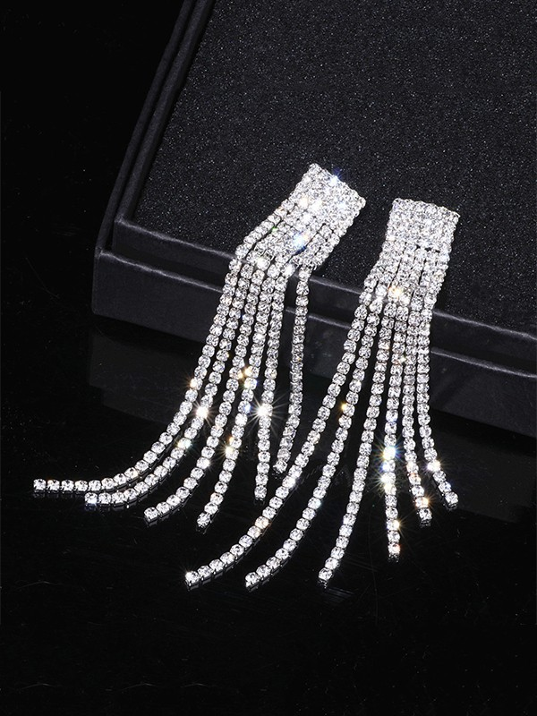 Women Fancy Rhinestone Long Tassel Earrings