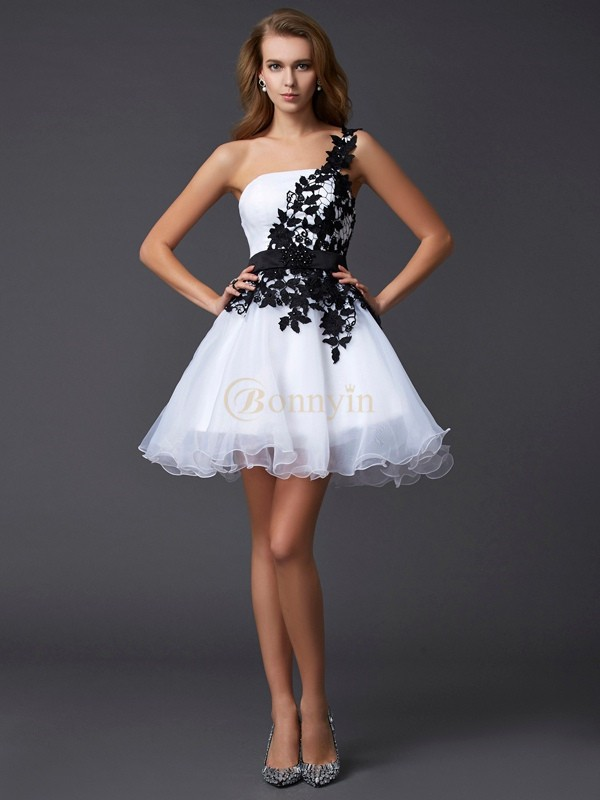 White Organza One-Shoulder A-Line/Princess Short/Mini Cocktail Dresses