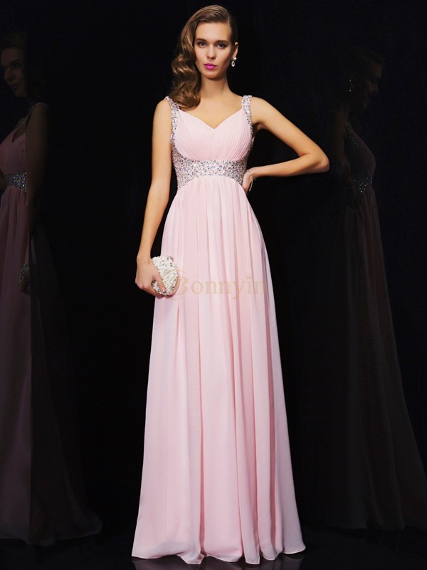Pink Chiffon V-neck Straps A-Line/Princess Floor-Length Dresses