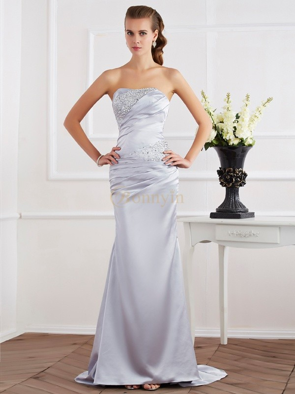 Silver Elastic Woven Satin Strapless Trumpet/Mermaid Sweep/Brush Train Dresses