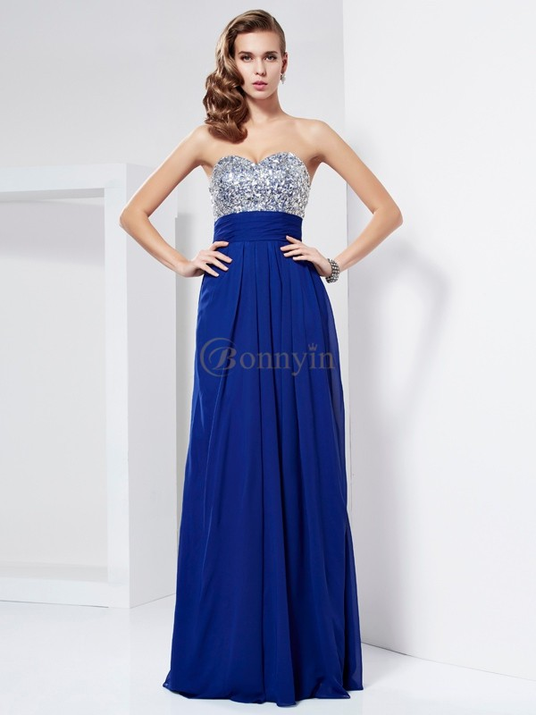 Royal Blue Chiffon Sweetheart Sheath/Column Floor-Length Dresses