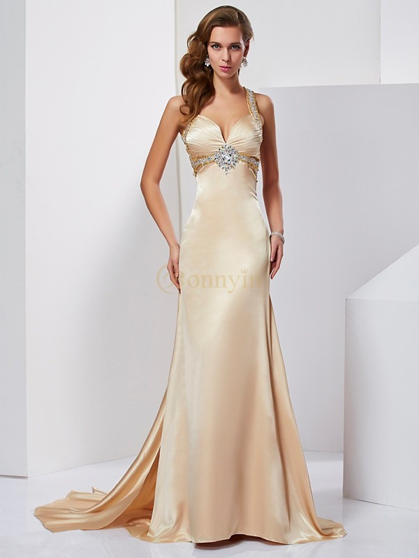Champagne Silk like Satin Halter Sheath/Column Sweep/Brush Train Dresses