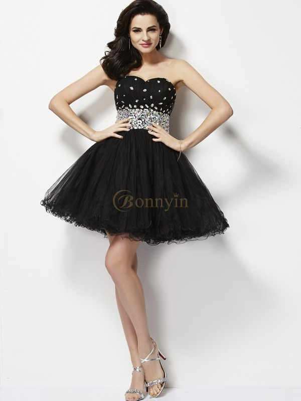 Black Elastic Woven Satin Sweetheart A-Line/Princess Short/Mini Cocktail Dresses