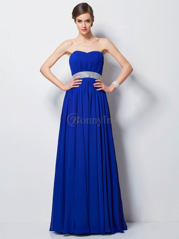 Royal Blue Chiffon Sweetheart Empire Floor-Length Dresses