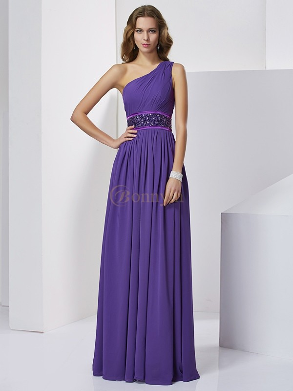 Regency Chiffon One-Shoulder Empire Floor-Length Dresses