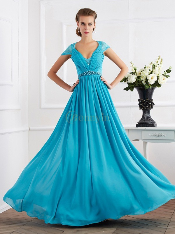 Royal Blue Chiffon V-neck A-Line/Princess Floor-Length Dresses