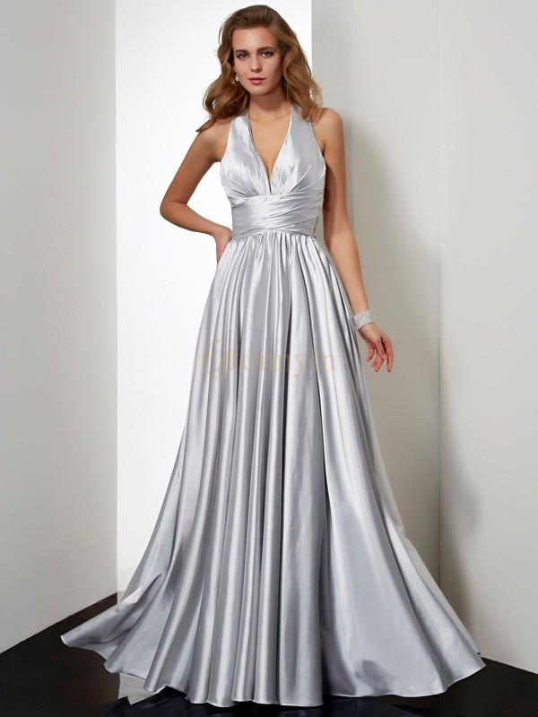 Silver Elastic Woven Satin Halter Sheath/Column Floor-Length Dresses