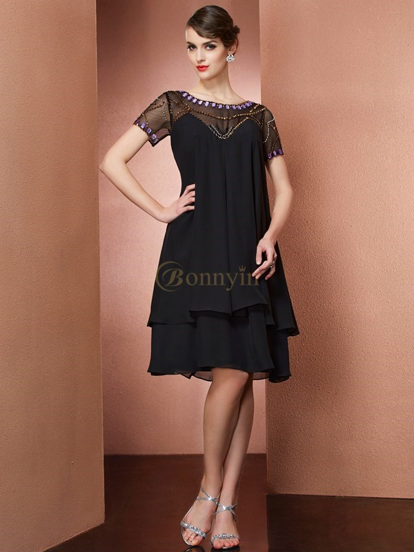 Black Chiffon Scoop A-Line/Princess Knee-Length Mother of the Bride Dresses