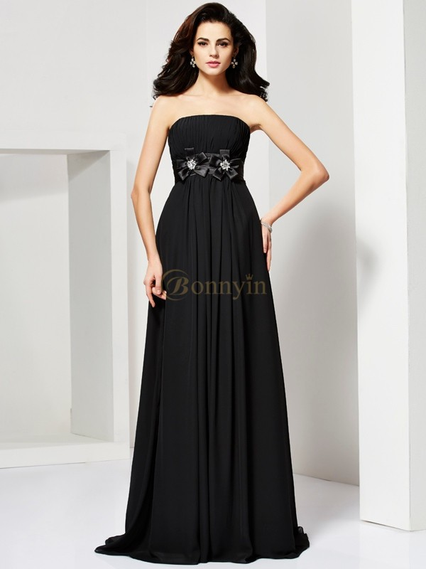 Black Chiffon Strapless A-Line/Princess Sweep/Brush Train Dresses