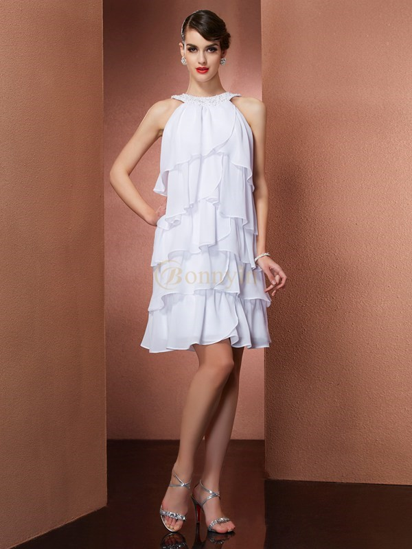 White Chiffon Scoop A-Line/Princess Short/Mini Cocktail Dresses