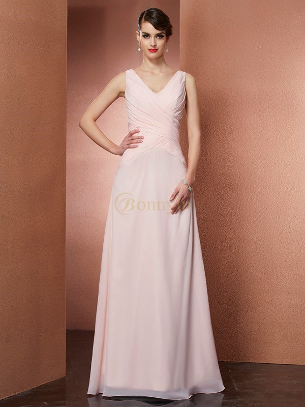 Pearl Pink Chiffon V-neck A-Line/Princess Floor-Length Dresses