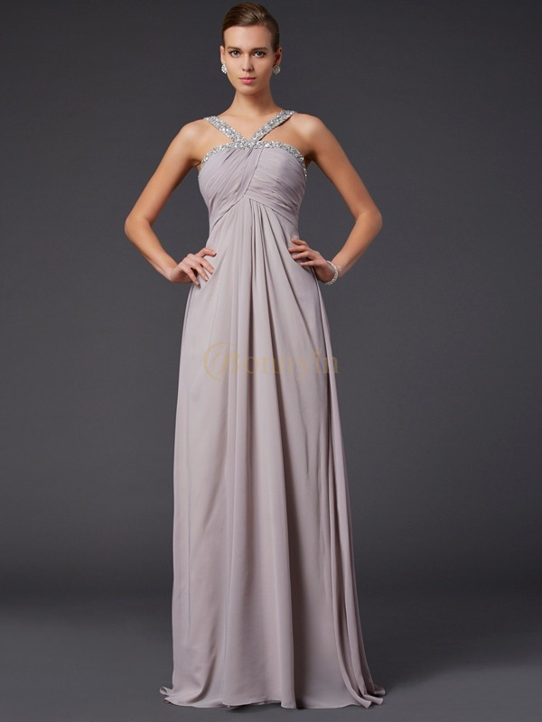 Champagne Chiffon Halter A-Line/Princess Sweep/Brush Train Dresses