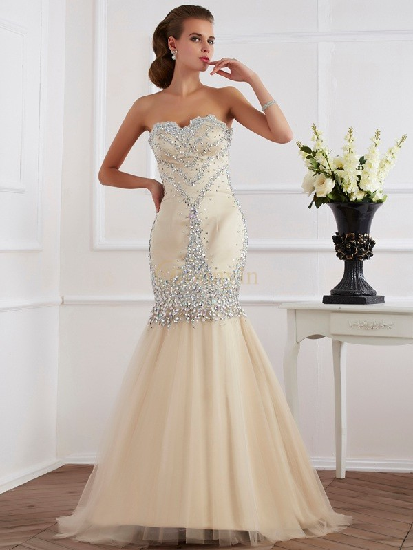 Champagne Satin Sweetheart Sheath/Column Sweep/Brush Train Dresses