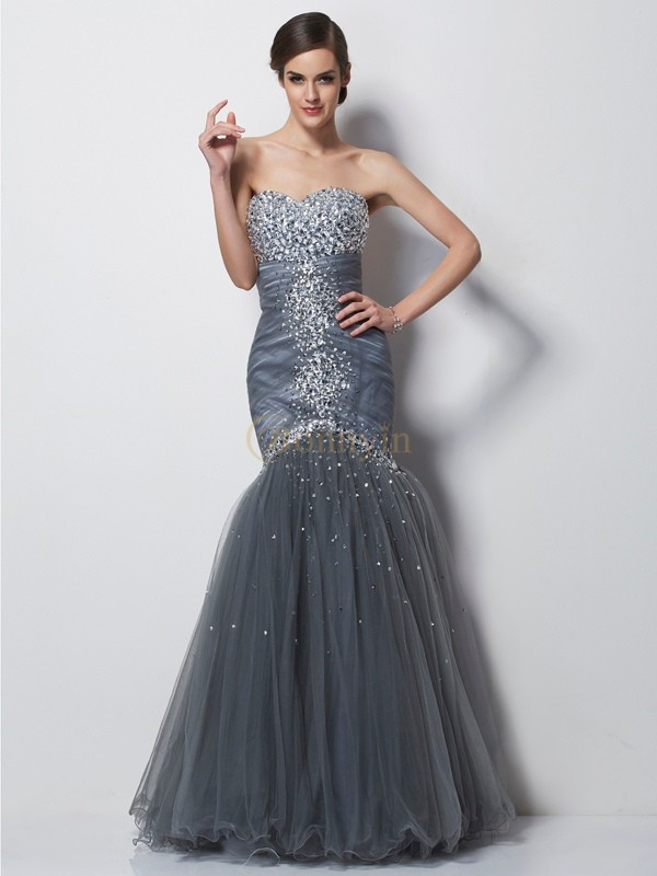 Grey Net Satin Sweetheart Trumpet/Mermaid Floor-Length Dresses