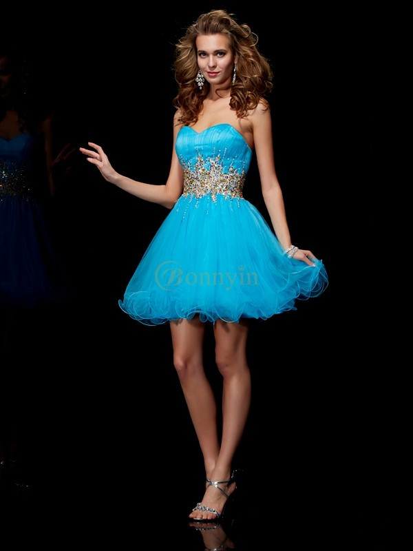 Blue Net Sweetheart A-Line/Princess Short/Mini Cocktail Dresses