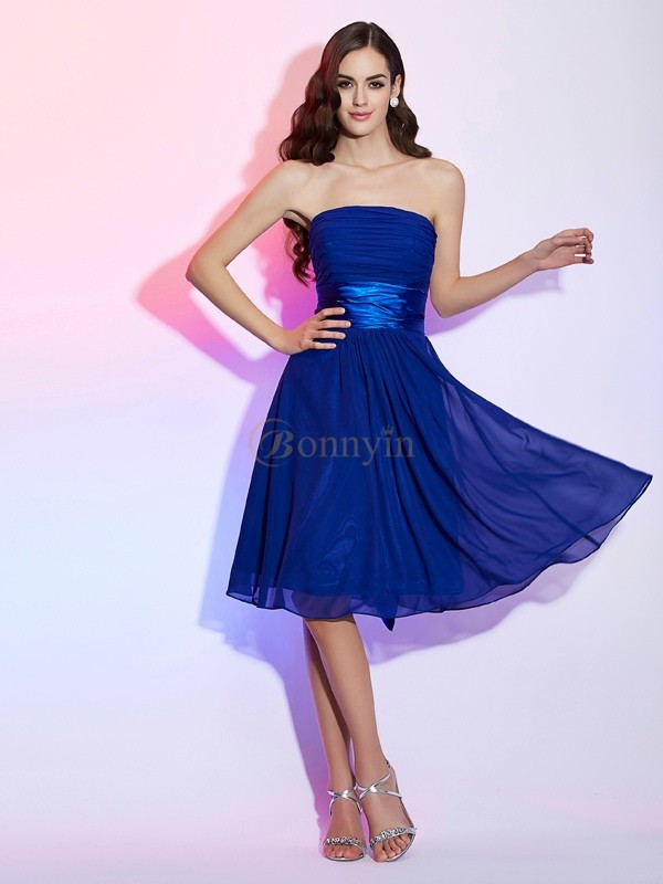 Royal Blue Chiffon Silk like Satin Strapless A-Line/Princess Knee-Length Cocktail Dresses