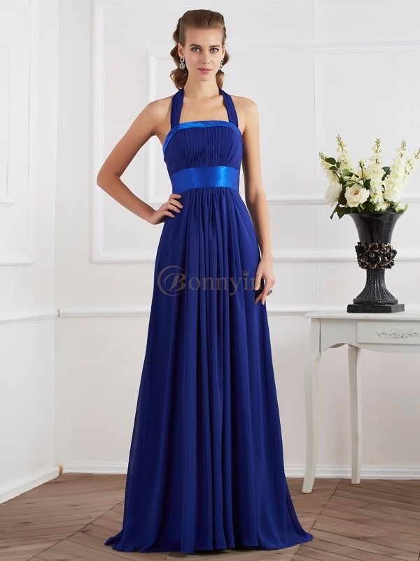 Royal Blue Chiffon Halter A-Line/Princess Floor-Length Dresses