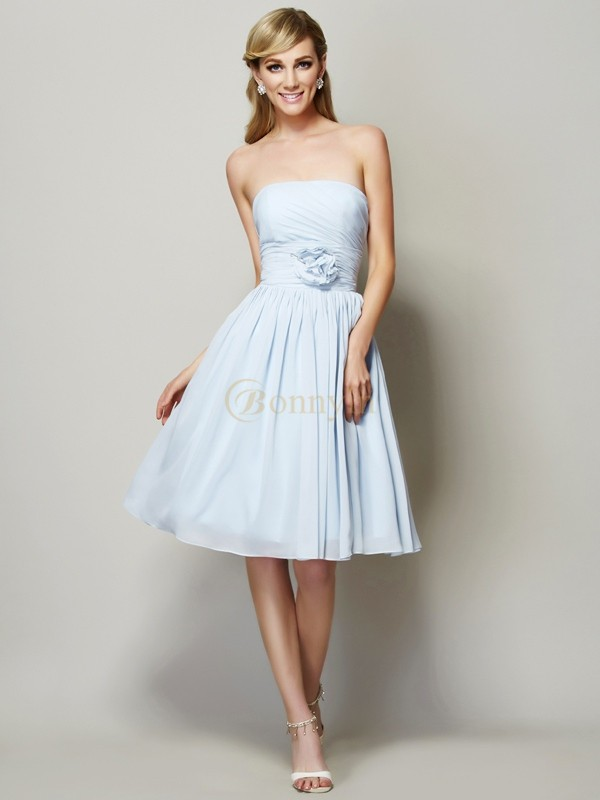 Light Sky Blue Chiffon Strapless A-Line/Princess Knee-Length Dresses