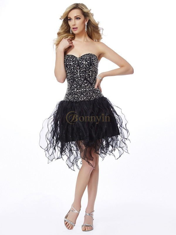 Black Organza Sweetheart Sheath/Column Short/Mini Cocktail Dresses