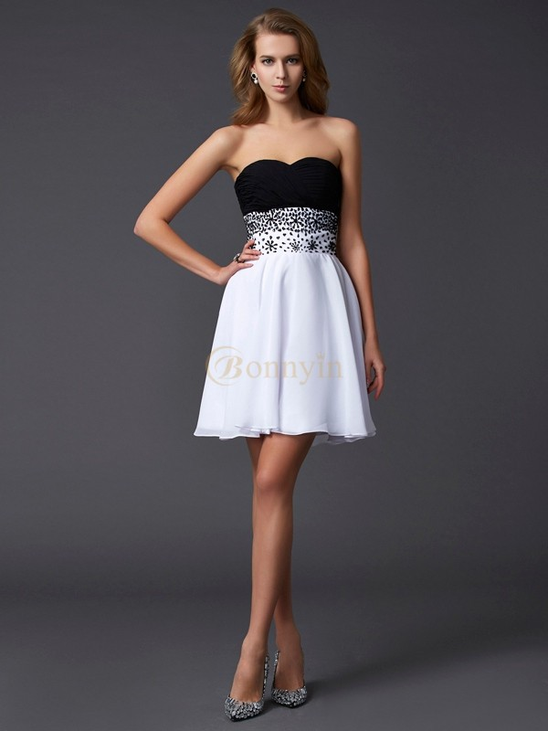 White Black Chiffon Sweetheart A-Line/Princess Short/Mini Cocktail Dresses