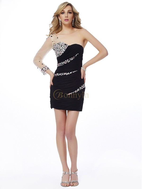 Black Chiffon Net One-Shoulder Sheath/Column Short/Mini Cocktail Dresses
