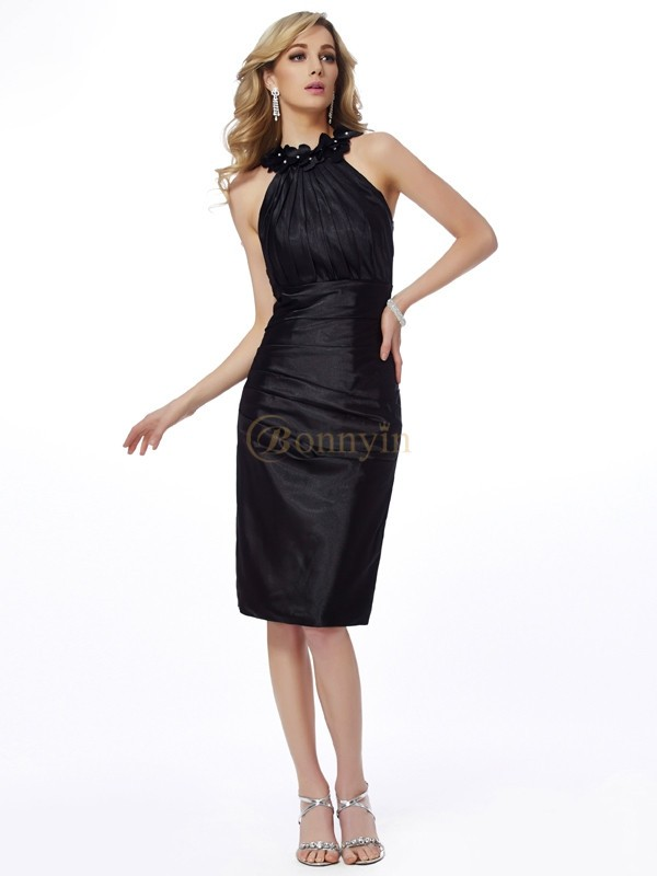 Black Elastic Woven Satin Bateau Sheath/Column Knee-Length Cocktail Dresses