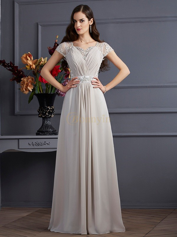 Grey Chiffon Sweetheart A-Line/Princess Floor-Length Dresses
