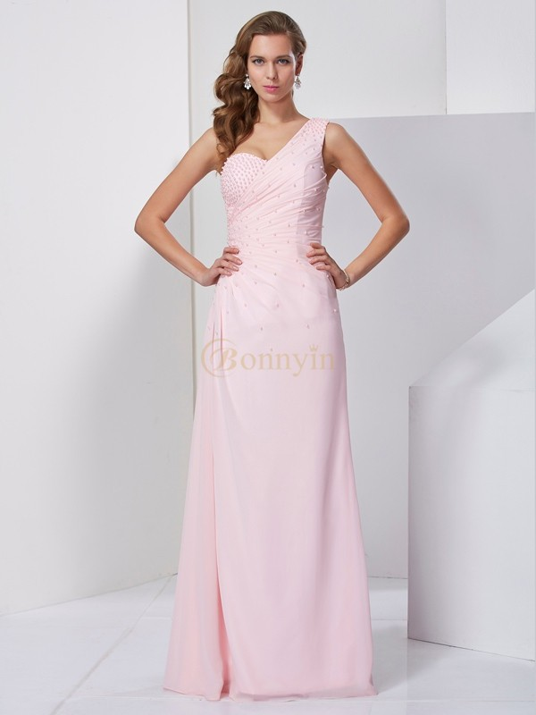 Pink Chiffon One-Shoulder Sheath/Column Floor-Length Dresses