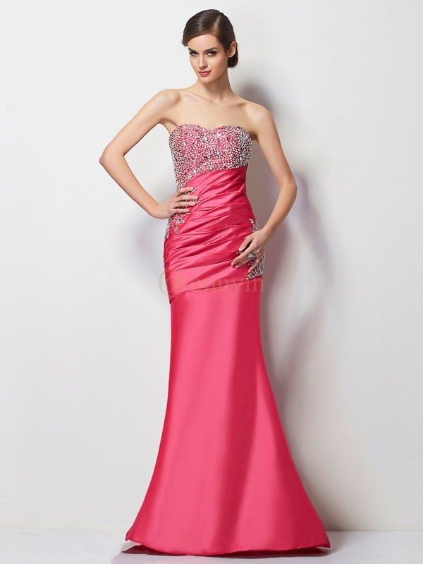 Fuchsia Taffeta Sweetheart Trumpet/Mermaid Floor-Length Dresses