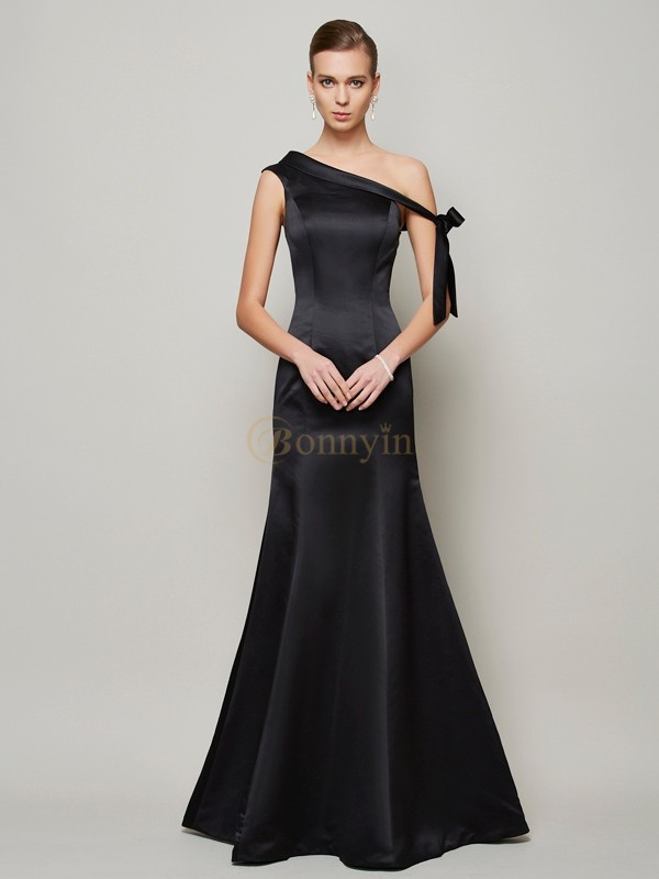 Black Satin One-Shoulder Trumpet/Mermaid Floor-Length Dresses