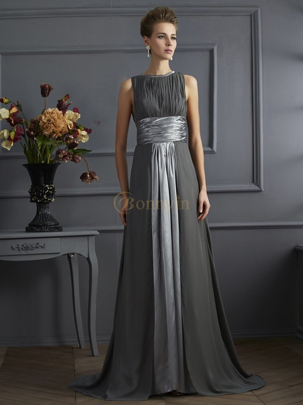 Grey Chiffon High Neck A-Line/Princess Sweep/Brush Train Dresses
